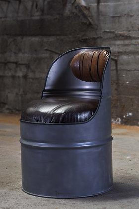 Fauteuil baril industriel recyclé - Metal cuir marron