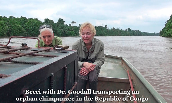 Becci Crowe with Jane Goodall in the Congo