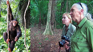 Becci Crowe with Jane Goodall the Congo