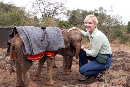 Becci with rescued orphans