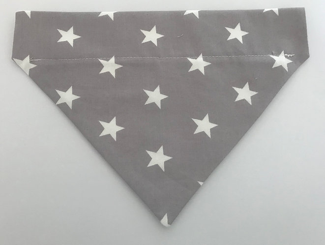 Silver Grey and White Stars Over The Collar Dog Bandana