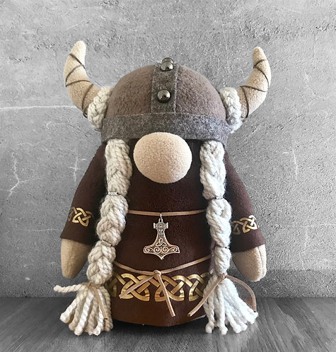 Handmade Nordic Viking Girl Gnome with Brown Faux Fur Coat