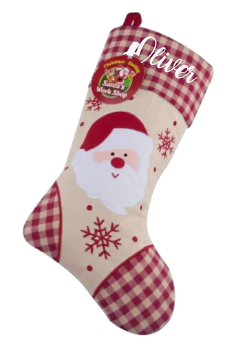 Personalised Deluxe Plush Tartan Santa Christmas Stocking  £7.50 - £10.00