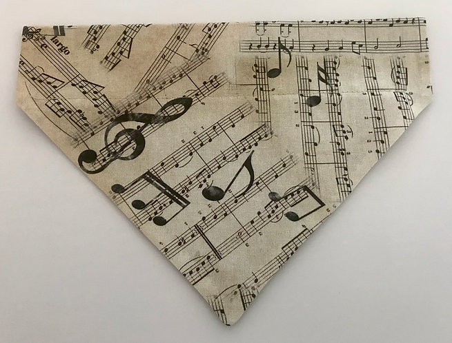 Vintage Style Musical Notes Over The Collar Dog Bandana