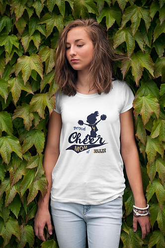 Personalised Cheer Mom with Name in The Tail White T Shirt