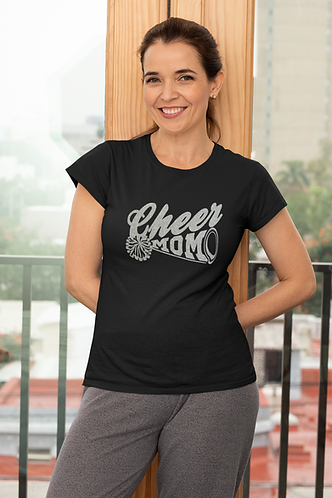 Cheer Mom Glitter Black T Shirt