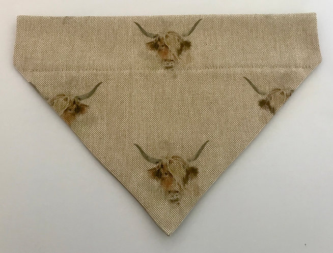Highland Cow Over The Collar Dog Bandana