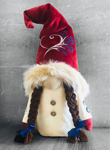 Girl Nordic Gnome with Red Fur Trimmed Hat