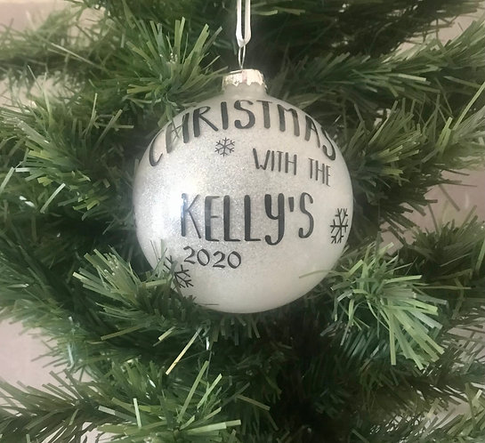 Personalised 8cm Your Family Christmas Tree Decoration Bauble