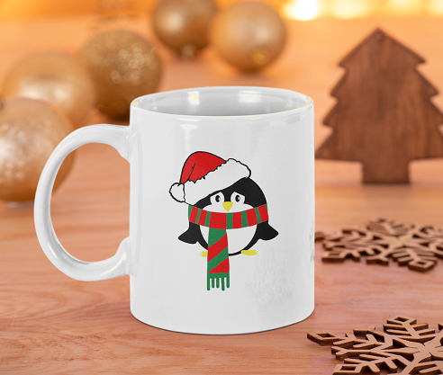 Penguin with Santa Hat 11oz Christmas Mug