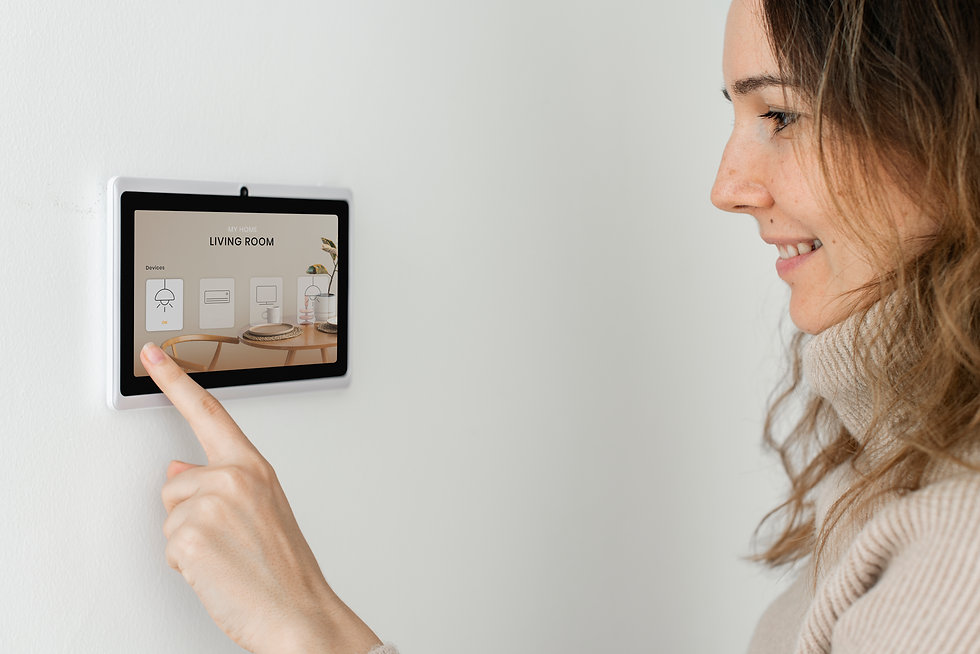 woman-pressing-on-smart-home-automation-