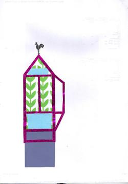 roze glimmende kasje met windhaan v3