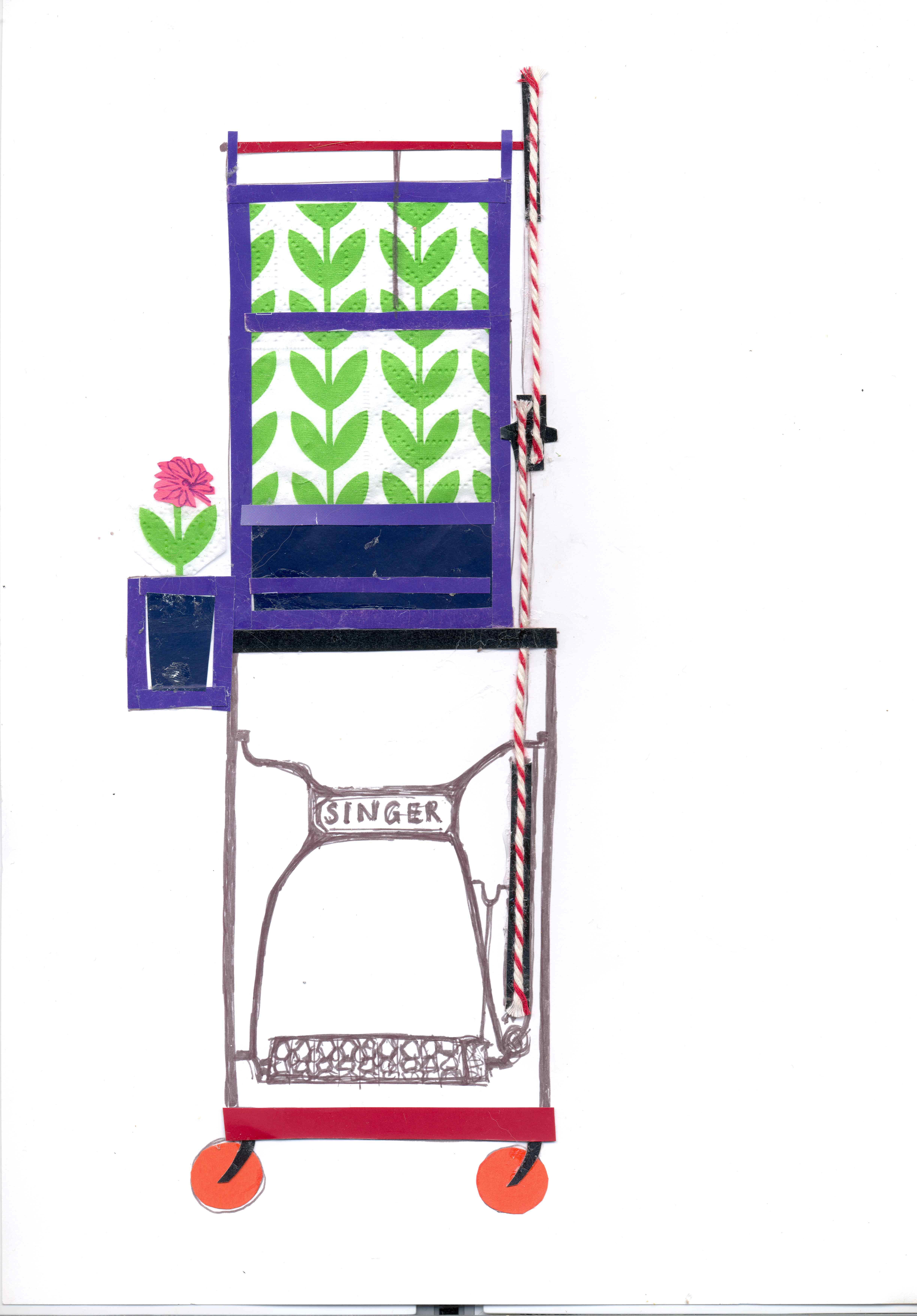 paarse kasje met naaimachine-onderstel v3