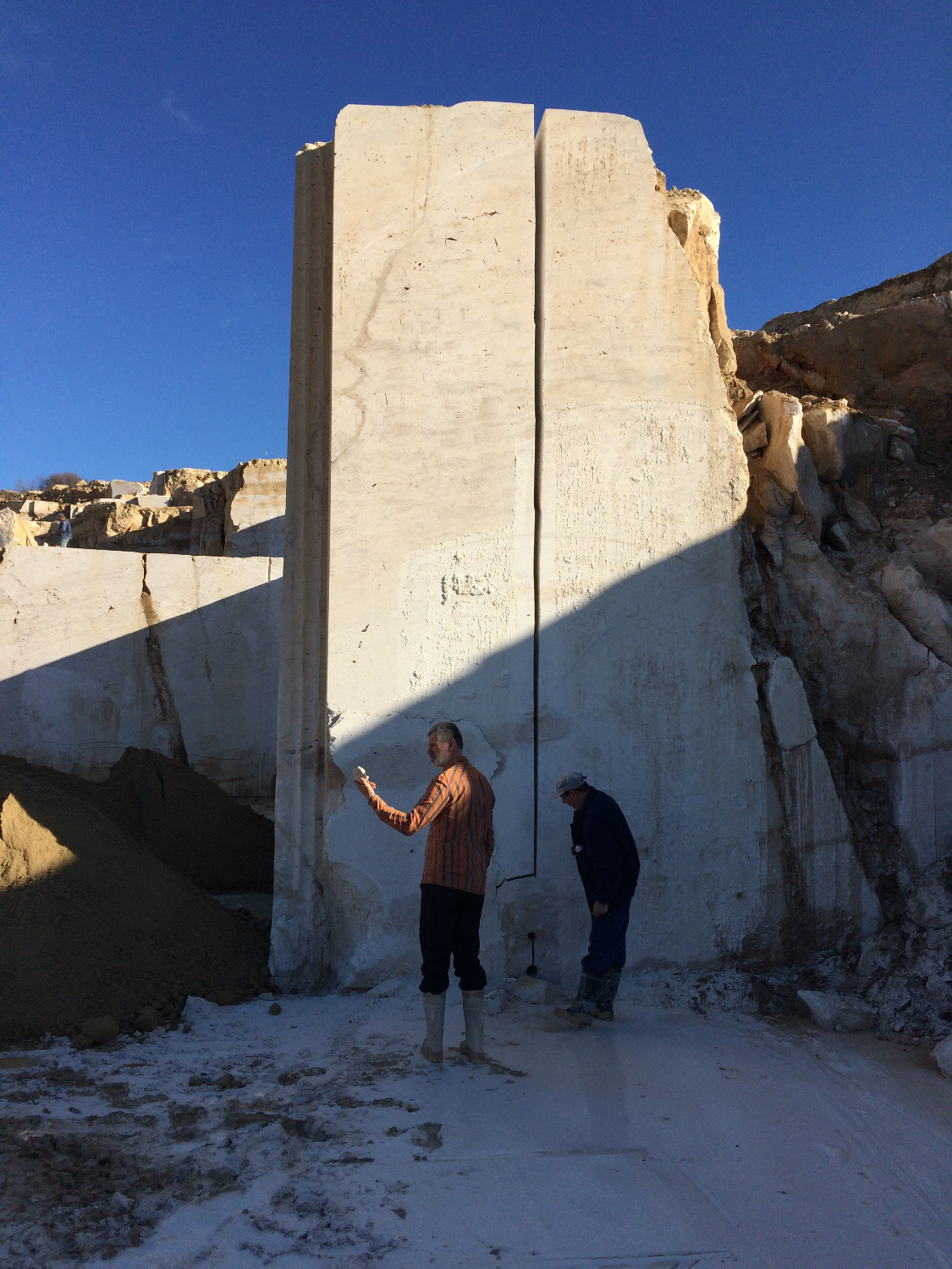 In travertine quarry