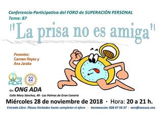 Próximo Foro de Superación Personal: 28 de noviembre de 2018.