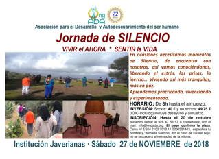 Jornada de SILENCIO. VIVIR el AHORA. SENTIR la VIDA. Octubre 2018