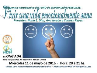 """Nuevo Foro de Superación Personal: """"Vivir una vida emocionalmente sana"""" · 11 de mayo"""