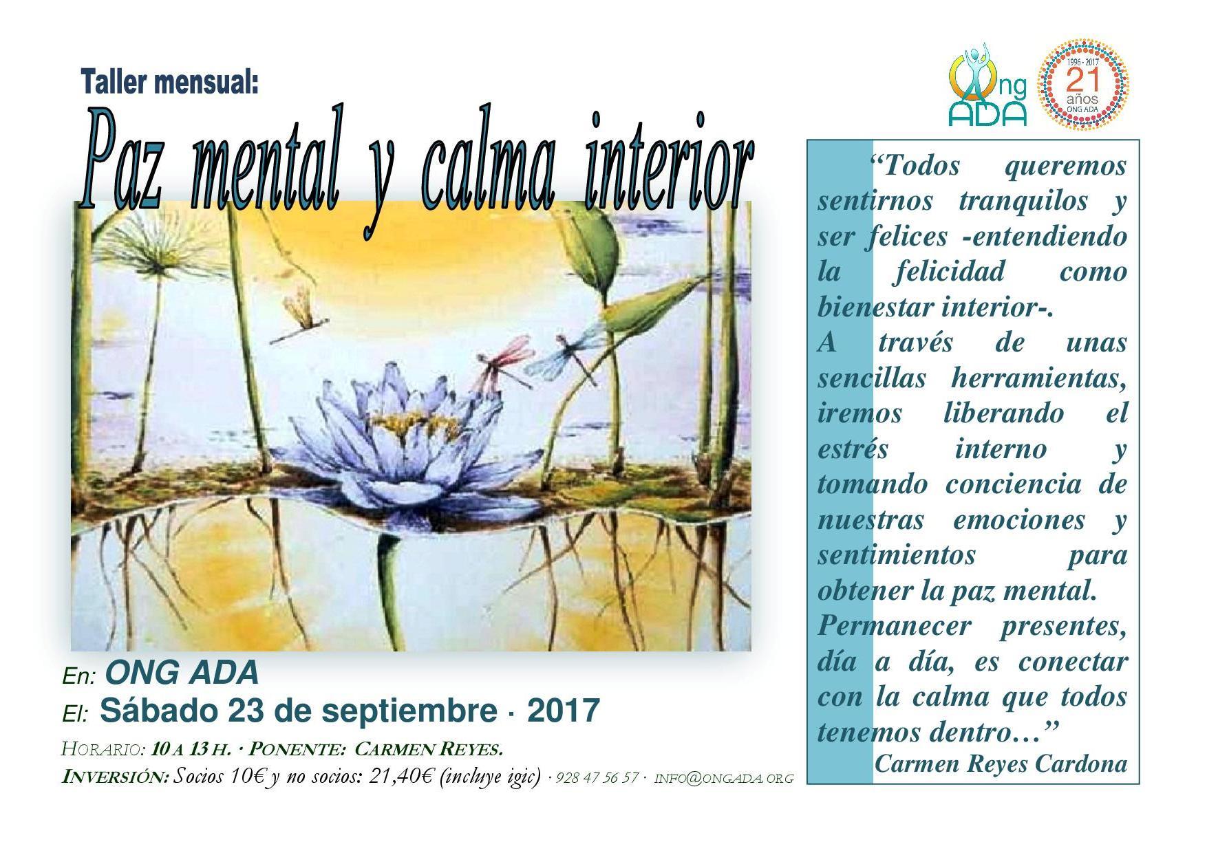 Taller Mensual 2017. Paz mental, calma interior.RED