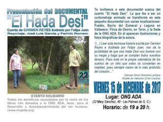 """Presentación del Documental: """"El Hada Desi"""" · 15 de diciembre"""