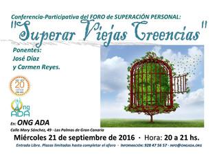 """Nuevo Foro de Superación Personal: """"Superar viejas creencias"""" (21 de septiembre)"""
