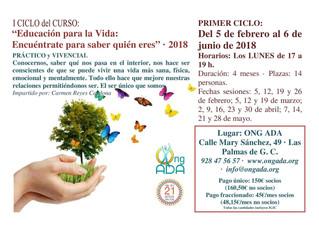 """Nuevas convocatorias del Curso: """"Educación para la Vida"""" Ciclos I y II para el año 2018."""