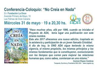 """Conferencia Participativa:                      """"No Creía en Nada"""" · 31 de mayo · La Once"""