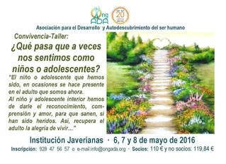 Próxima Convivencia-Taller · 6 al 8 de mayo