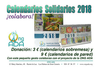Calendario Solidario 2018 de pared · NOVEDAD