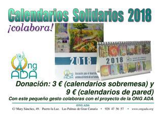 Calendario Solidario 2018 de pared · NOVEDAD