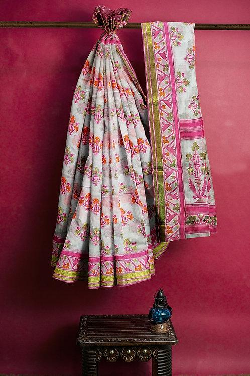 Fancy Banarasi Saree White Special