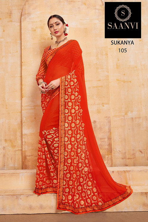 SUKANYA ORANGE COLOR CASUAL WEAR SAREE