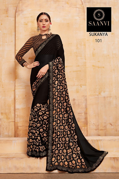 SUKANYA BLACK COLOR CASUAL WEAR SAREE