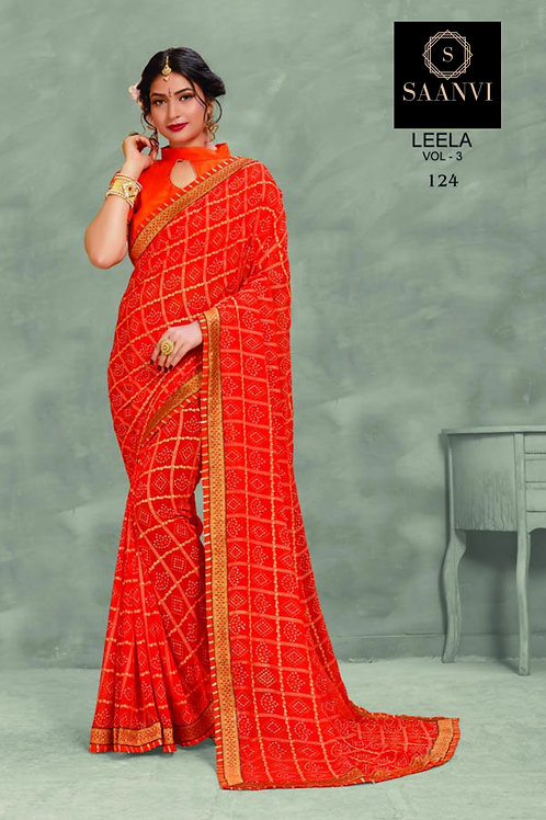 Orange Georgette Bandhani Casual Wear Saree
