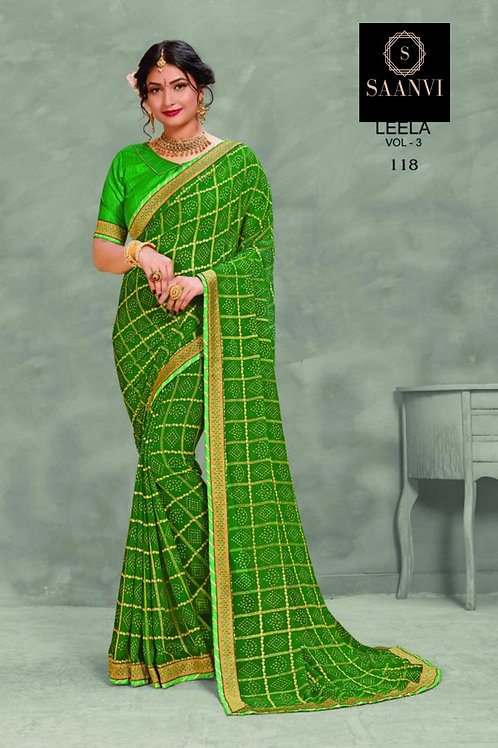 Green Georgette Bandhani Casual Wear Saree