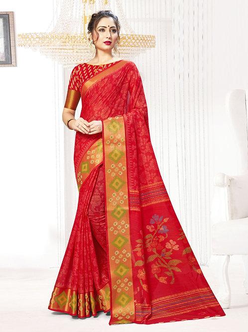 Women's Designer Linen Silk Printed Saree – UTVS-1001