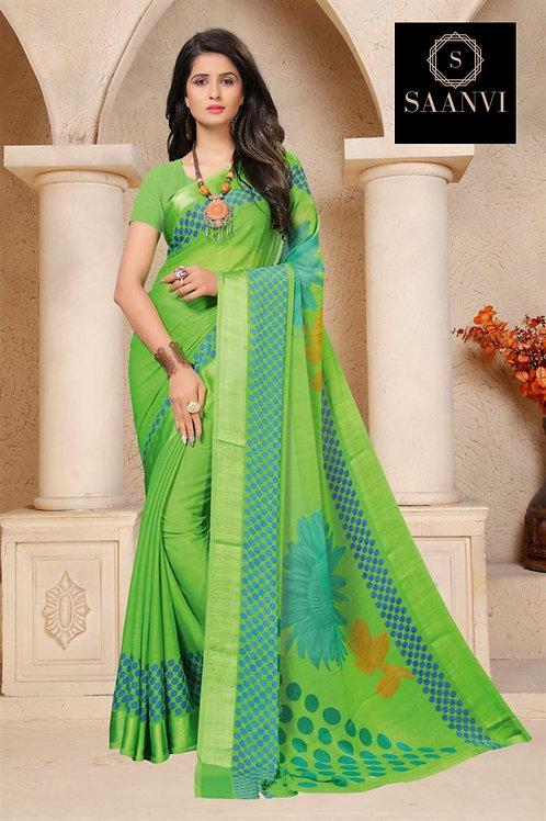 Green Chiffon Casual Wear Printed Saree