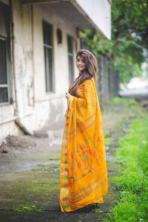 Women's Designer Yellow Linen Printed Saree