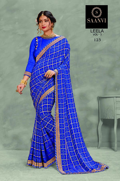 Blue Georgette Bandhani Casual Wear Saree