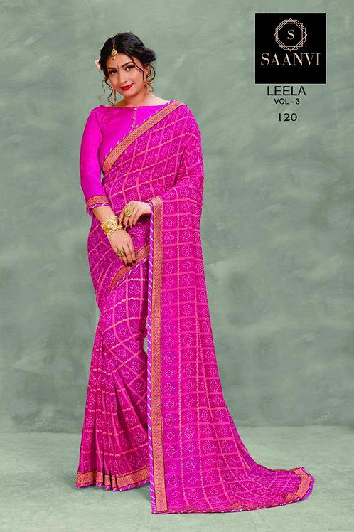 Pink Georgette Bandhani Casual Wear Saree