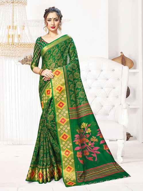 Women's Designer Green Linen Printed Saree