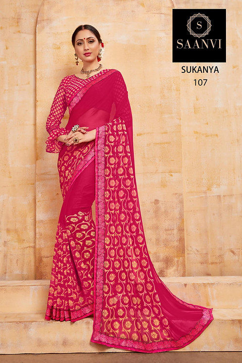 SUKANYA PINK COLOR CASUAL WEAR SAREE