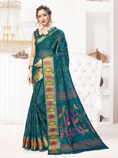 Women's Designer Linen Silk Printed Saree – UTVS-1004