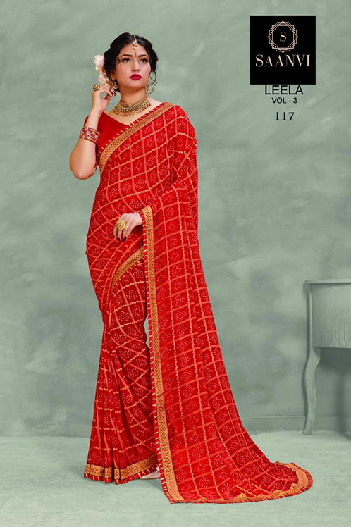 Red Georgette Bandhani Casual Wear Saree