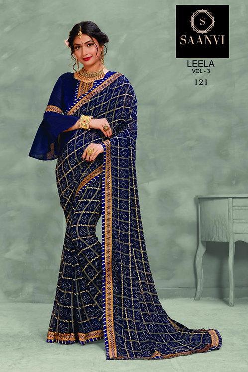Navy(Dark) Blue Georgette Bandhani Casual Wear Saree
