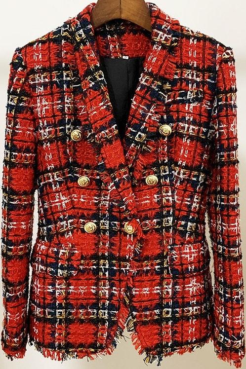 Blazer en Tweed à carreaux rouge avec des manches longues automne hiver 2021