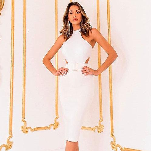 Nouvelle robe blanc pour été, moulante sexy pour femme sans manche soirée