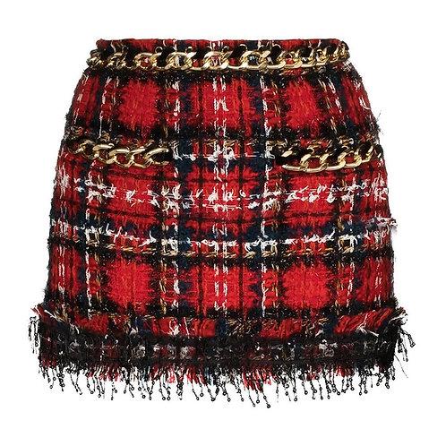 Mini-jupe courte, carreaux rouges