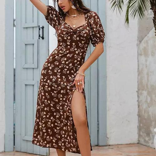 Sexy et moulante robe, 2021, robe courte sans manches, imprime floral, dos nu