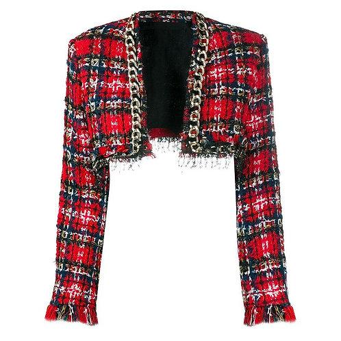Veste en tweed à carreaux rouges court, style chaine dorée et paillettes