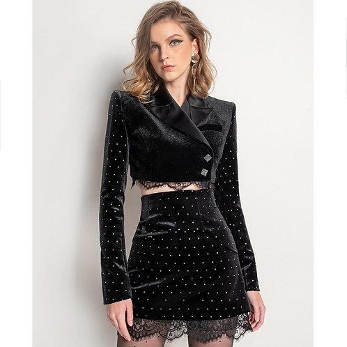 Ensemble top et robe en velours, manche longue diamant, veste courte, mini-jupe